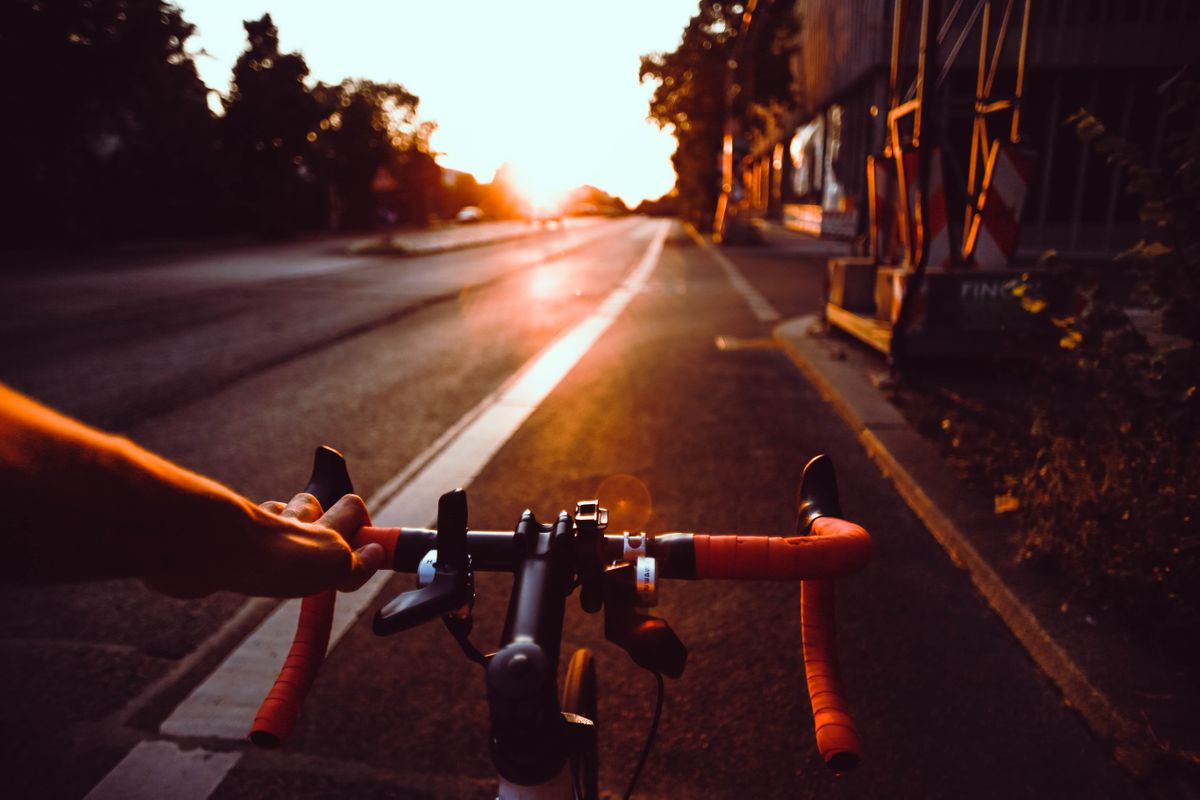 A cycling personal trainer on the road.