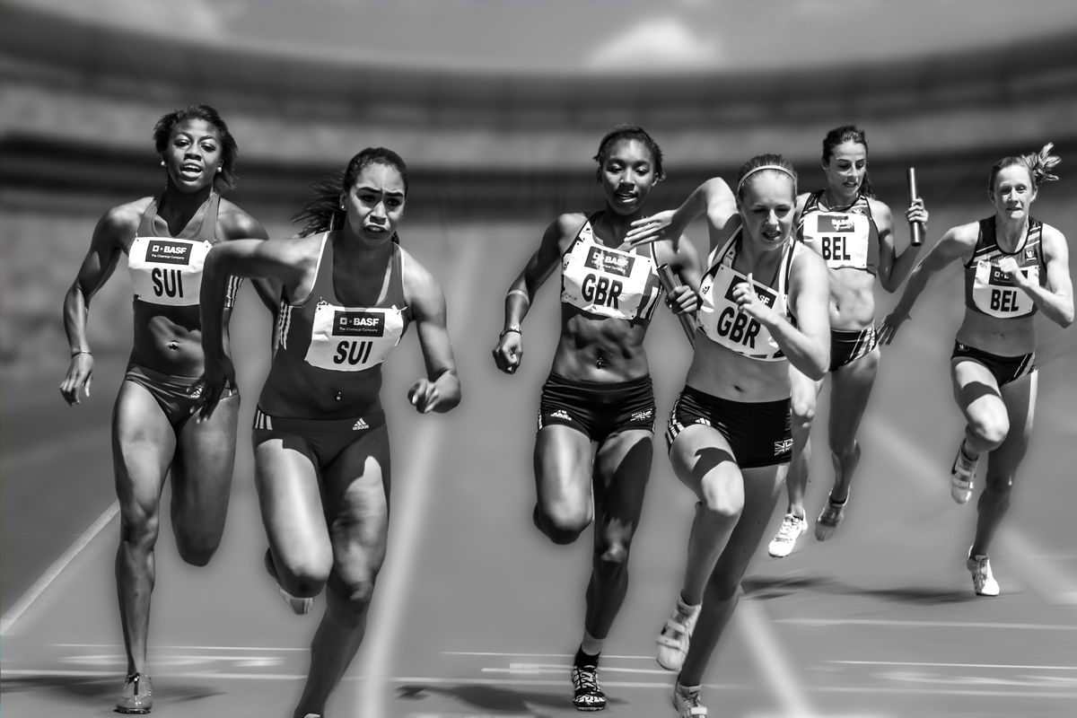 Athletes running in a race
