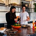 Personal trainers preparing healthy food