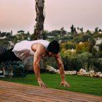 A calisthenics personal trainer doing push-ups.