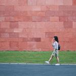 Fit woman walking