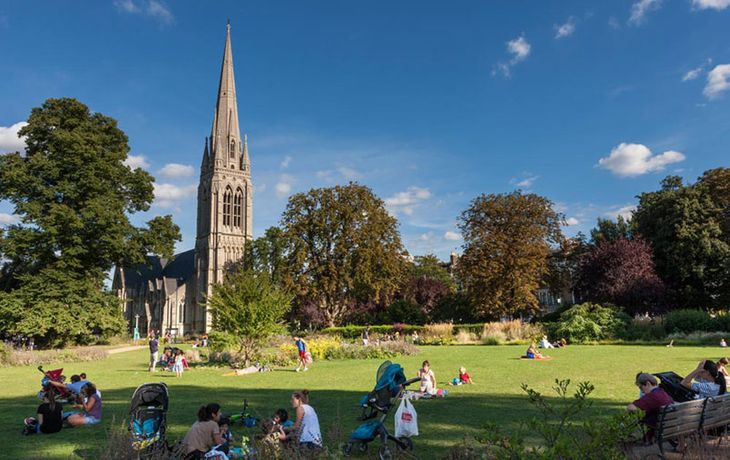 Overlooked by a church, Clissold Park is an idyllic spot in which to meet your personal trainer in Hackney.